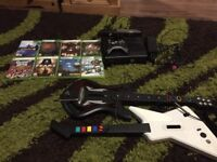 Xbox 360 with 8 games, Kinect and 2 guitars for guitar hero