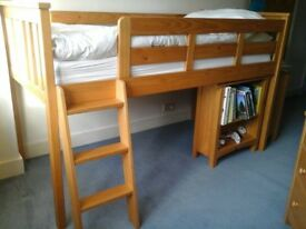 Cabin bed with built in desk and bookcase