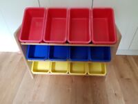 Toy or general storage unit, 12 boxes and rack (Great Little Trading Company)