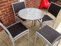 GARDEN TABLE AND CHAIRS X4 £55 THE LOT