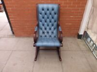 A Blue Leather Chesterfield Rocking Chair