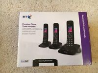 BT Premium 090632 Cordless Phone 3 set box with 100% block of nuisance calls. Still under guarantee