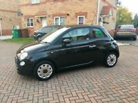 2010 FIAT 500 1.2 BLACK, MOT 12 MONTH, GLASS SUNROOF, PARKING SENSORS, FULL HISTORY, £20 TAX