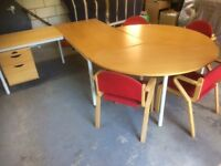 Desk, meeting table, 4 chairs, filing cabinet