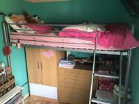 Bunk bed,mattress and wardrobe