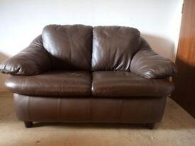 Leather sofa, brown leather settee, two seater sofa, small sofa, dark brown