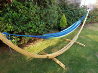 Wooden Stand Double Cotton Hammock With