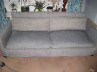 Habitat Grey Linen Sofa