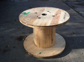 Large Wooden Reclaimed Industrial Cable Reel/Drum,Table, 100 cm x 75 cm Upcycled/Craft project.