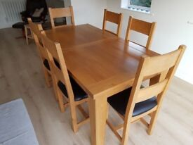 6-8 seater extendable dining table + 6 chairs