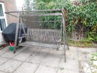 lovely extra wide 3 seater wooden swing seat garden chair
