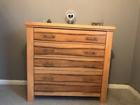 Tall Bannana wood chest of drawers