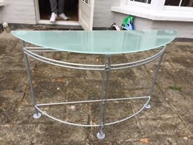 Glass-topped, semicircular hall table
