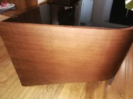 great quality walnut veneer tv stand with black glass shelves