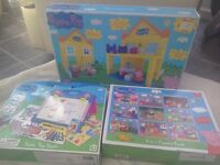 Peppa Pig New Toy Bundle Table Top Easel + Bumper Puzzle Pack + House Construction Brick Set