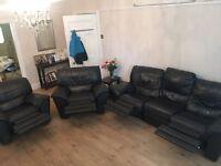 Black Leather Recliner Sofa Set 3+1+1