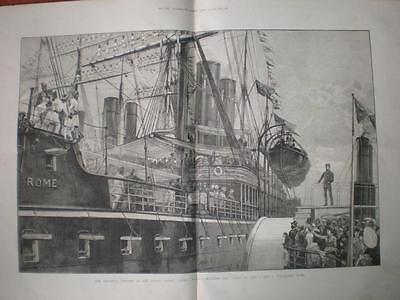 P & O SS Rome at Royal Albert Docks London 1886 print