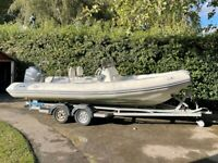 """Avon 620 Adventure RIB 6.2m (20' 4"""") fitted with a Yamaha F150 outboard."""