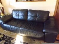 Pair sofas 3seater & 2seater black leather, excellent condition, dark wood feet, £200 the pair