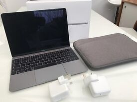 Latest Macbook 12, 1.2Ghz, 8GB RAM, 512GB SSD, 2 Chargers, Case and Zagg Protective Film