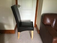 Dining Room Chairs x 6 Brown Faux Leather High backed oak legs