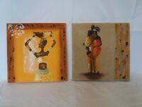 Set of 2 African themed canvas paintings (30 x 30cm)