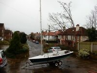 For Sale: Laser 13 sailing dinghy with road and launching trolleys £1350