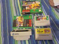 Super Nintendo Universal Adapter Converter + Super Mario World + World Class Rugby Games SNES