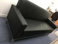 Black Faux Leather Office Sofa