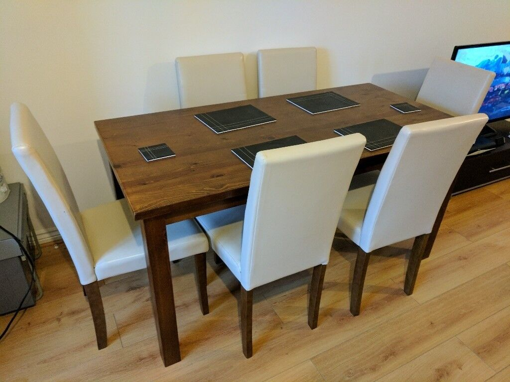 Home ashdon solid wood dining table 6 mid back chairs for Table watford