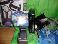 Black Nintendo Wii Black Edition w/Charging Cable instructions and Wii Sports Resort plus Accesories