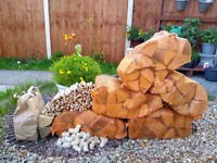 Kiln dried hardwood logs PACKS 5nets + Kindling + Firelighters - FREE DELIVERY within Bristol area