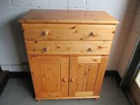 PINE TWO DRAWER SIDEBOARD TALLBOY WITH LARGE CUPBOARD FREE DELIVERY