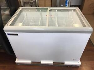 COMMERCIAL FLAT LID DISPLAY CHEST FREEZERS, MERCHANDISERS, ICE CREAM, GELATO, GLASS TOP SLIDING DOOR FREEZER, DROP IN