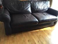 2 quality brown leather sofas