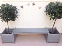 Wooden bench planter