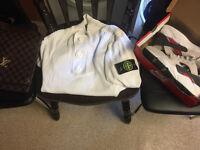 Nike Air Huarache , Louis vuitton bag ,Stone Island cardigan & Nike track & field tracksuit bottom
