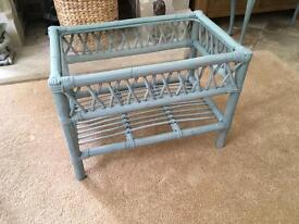 Upcycled vintage cane & glass coffee table