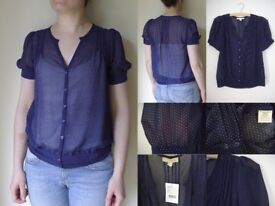 URBAN OUTFITTERS Vintage Blue Polka Dot Short Blouse Small 10