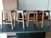 Wooden stools x 4
