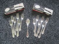 2 Sets of 6 Silver Plated Cake Pastry Forks