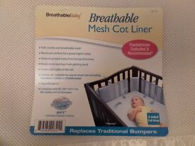 Breathable mesh cot bumper/liner