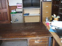 JOB LOT. 2 DESKS,1 FILING CABINET,1 ROLLER FRONTED CABINET,1 CUPBOARD,3 OFFICE CHAIRS