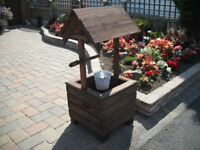 Wooden garden wishing well planter garden feature handmade