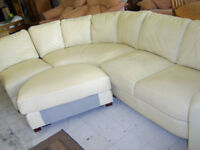 Cream leather corner suite with pouffe