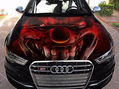 Vinyl Car Hood Wrap Full Color Graphics Decal Twisted Metal Angry Clown Sticker - Twisted Metal Clown