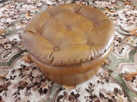 Studded Light Brown / Mustard coloured Leatherette Pouffe. Late 1960s / Early 1970's Style.