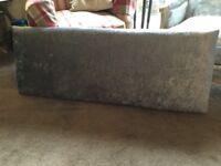 Double headboard upholstered in crushed velvet silver
