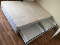 Double divan bed frame with four drawers