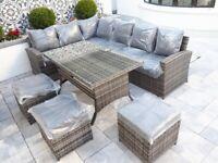Garden Furniture. Luxury Rattan Saint-Tropez 9 Seater Dining Set 20% sale
